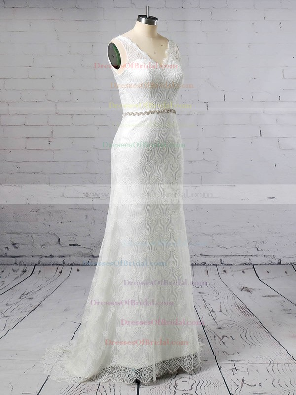 Lace Trumpet/Mermaid V-neck Sweep Train Sashes / Ribbons Wedding Dresses #DOB00023378