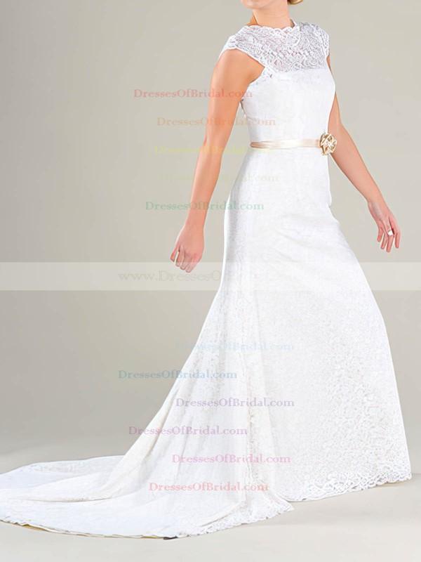 Scalloped Sheath/Column Court Train Lace Sashes/Ribbons Wedding Dresses #DOB00020479
