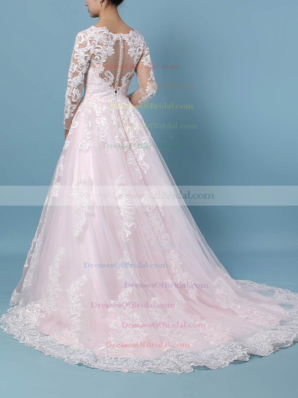 Tulle Ball Gown V-neck Sweep Train Appliques Lace Wedding Dresses #DOB00023379