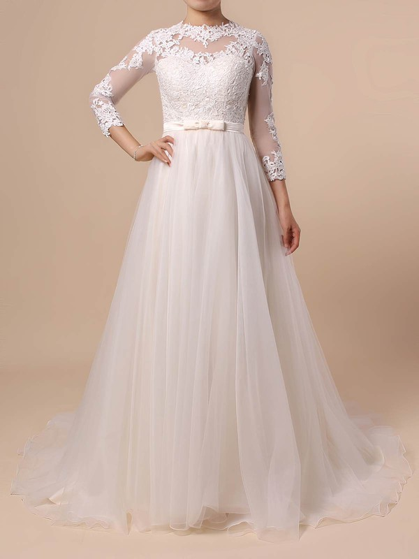 Tulle Princess Scoop Neck Sweep Train Appliques Lace Wedding Dresses #DOB00023382