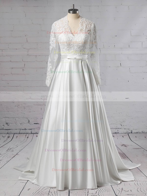 Satin Tulle Ball Gown V-neck Sweep Train Appliques Lace Wedding Dresses #DOB00023383