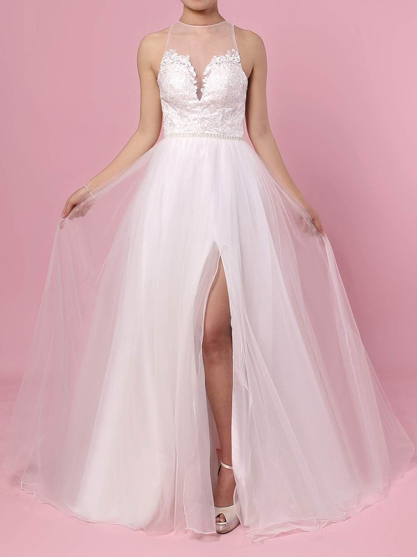 Tulle A-line Scoop Neck Sweep Train Beading Wedding Dresses #DOB00023384