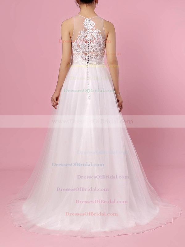 Tulle A-line Scoop Neck Sweep Train Beading Wedding Dresses #DOB00023384
