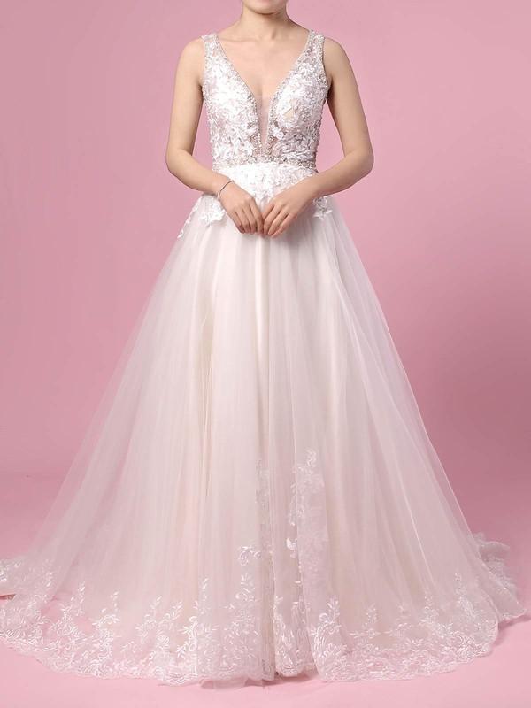 Tulle Princess V-neck Sweep Train Beading Wedding Dresses #DOB00023386