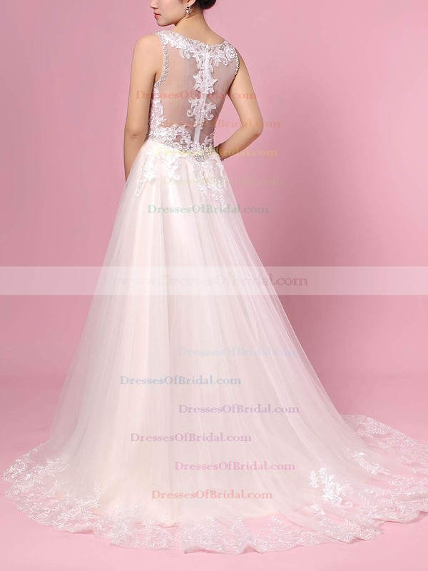 Tulle Princess V-neck Sweep Train Beading Wedding Dresses #DOB00023386