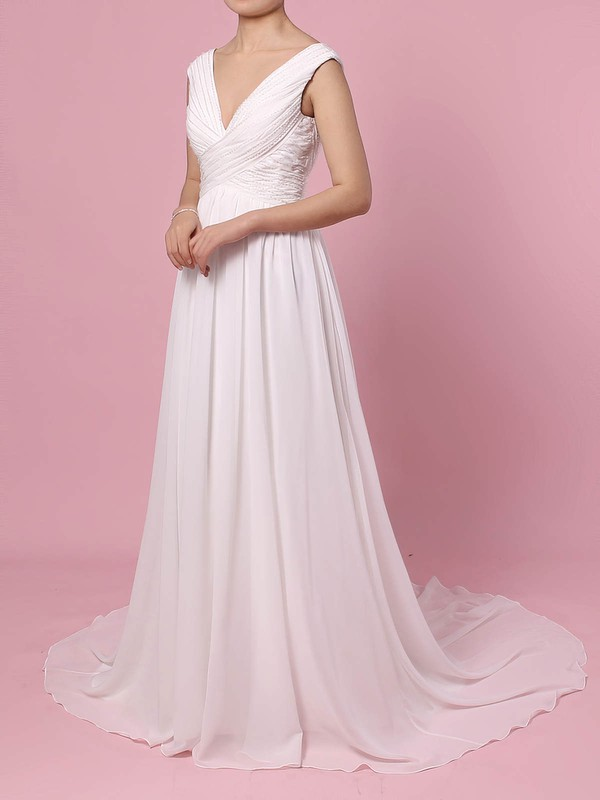 Chiffon A-line V-neck Sweep Train Beading Wedding Dresses #DOB00023396