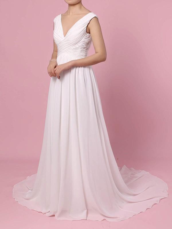 Chiffon A-line V-neck Sweep Train Beading Wedding Dresses #DOB00023396