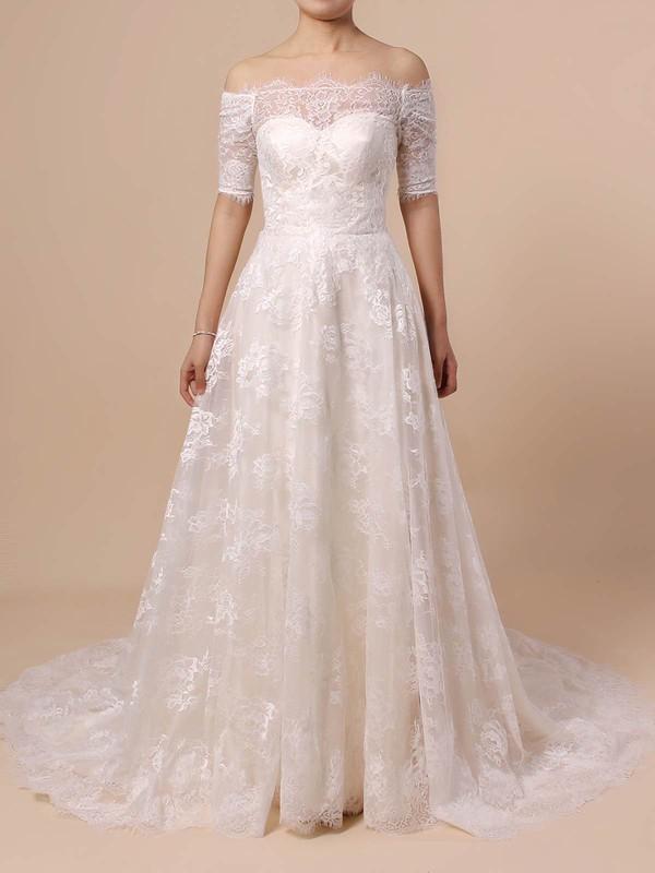 Lace Princess Off-the-shoulder Sweep Train Wedding Dresses #DOB00023397