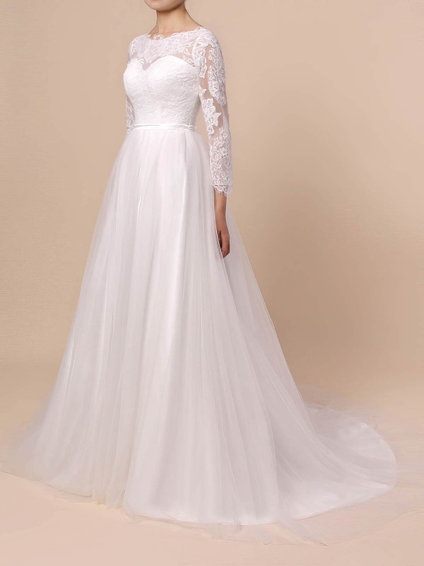 Lace Tulle A-line Scoop Neck Sweep Train Appliques Lace Wedding Dresses #DOB00023402