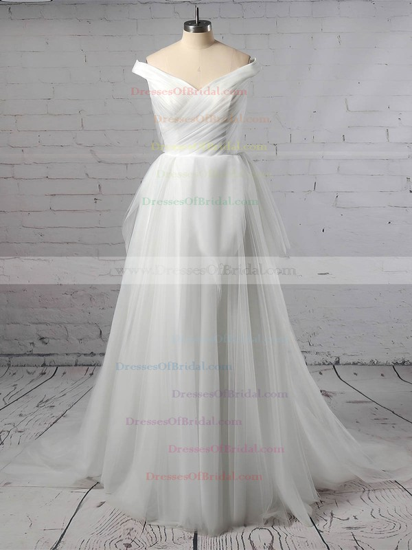 Tulle Ball Gown Off-the-shoulder Sweep Train Ruffles Wedding Dresses #DOB00023404