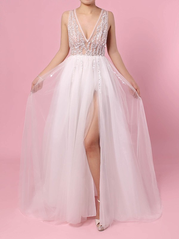 Tulle Princess V-neck Sweep Train Beading Wedding Dresses #DOB00023406
