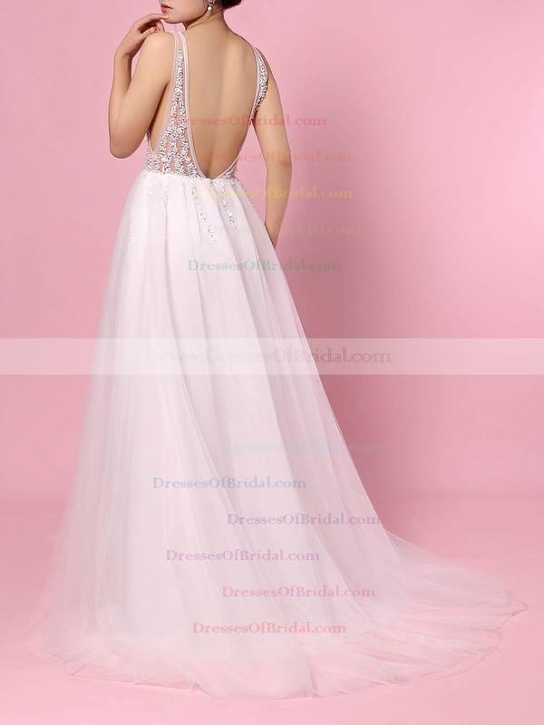 Tulle Princess V-neck Sweep Train Beading Wedding Dresses #DOB00023406