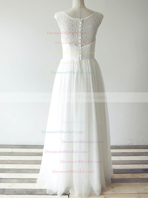Bateau A-line Floor-length Tulle Lace Ruffles Wedding Dresses #DOB00020480