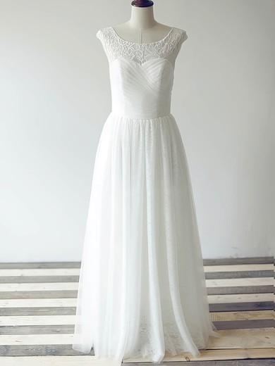 Bateau A-line Floor-length Tulle Lace Ruffles Wedding Dresses #DOB00020480