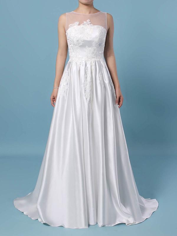 Satin Tulle Princess Scoop Neck Sweep Train Appliques Lace Wedding Dresses #DOB00023420