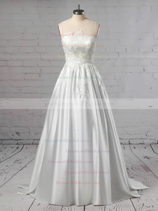 Satin Tulle Princess Scoop Neck Sweep Train Appliques Lace Wedding Dresses #DOB00023420