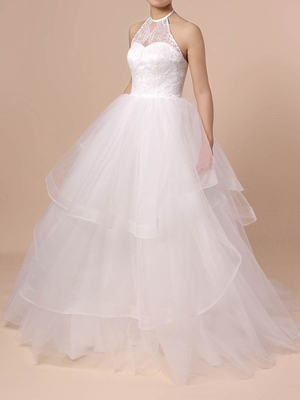Tulle Ball Gown Halter Sweep Train Lace Wedding Dresses #DOB00023421