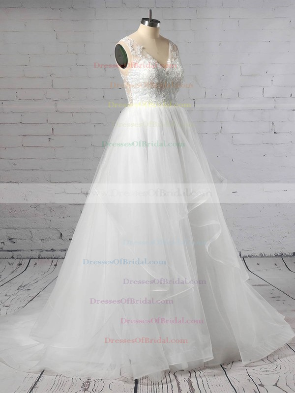Lace Tulle Princess V-neck Sweep Train Cascading Ruffles Wedding Dresses #DOB00023422