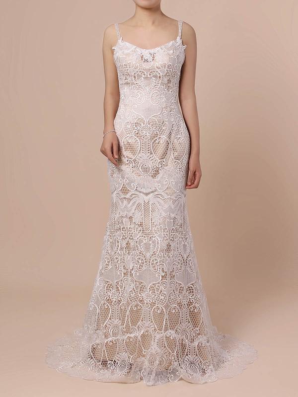 Lace Trumpet/Mermaid V-neck Sweep Train Beading Wedding Dresses #DOB00023428