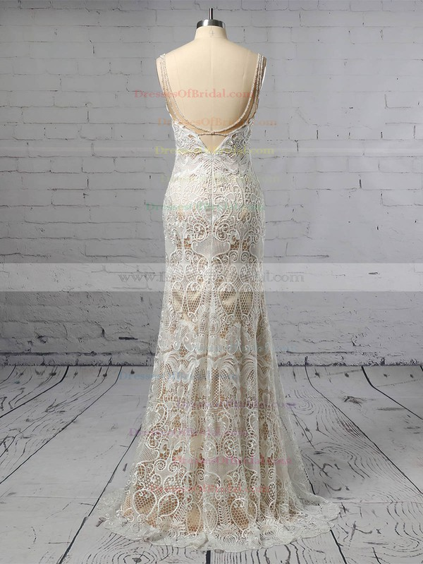 Lace Trumpet/Mermaid V-neck Sweep Train Beading Wedding Dresses #DOB00023428