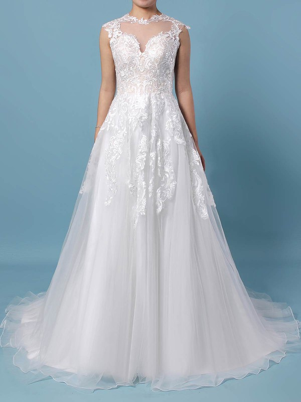 a68d2022484 Tulle A-line Scoop Neck Sweep Train Appliques Lace Wedding Dresses   DOB00023431