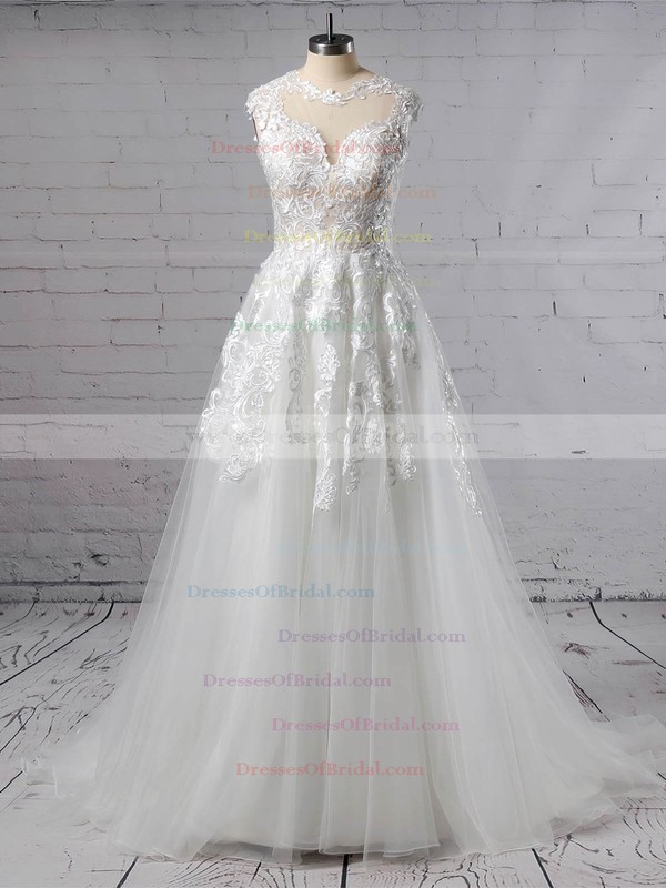 Tulle A-line Scoop Neck Sweep Train Appliques Lace Wedding Dresses #DOB00023431