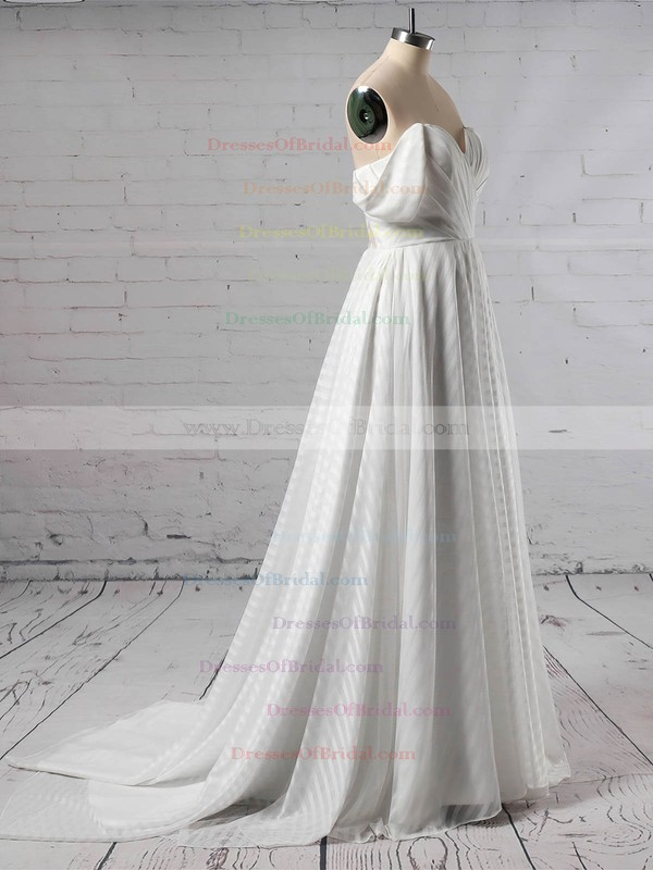 Organza Ball Gown Off-the-shoulder Sweep Train Split Front Wedding Dresses #DOB00023433