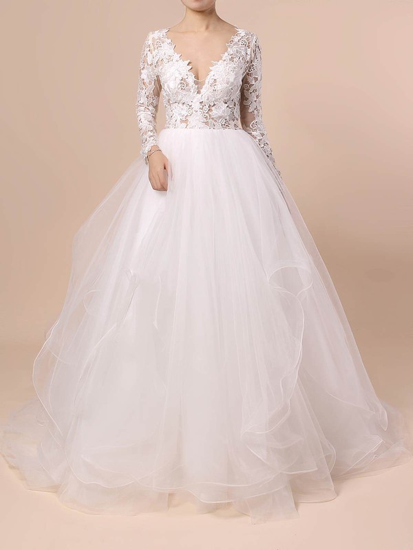 Organza Tulle Ball Gown V-neck Sweep Train Cascading Ruffles Wedding Dresses #DOB00023436