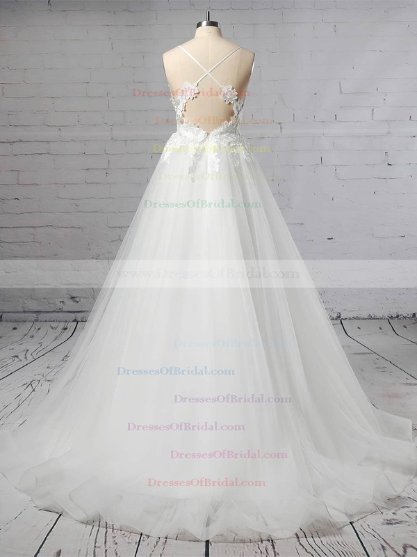 Tulle Ball Gown V-neck Sweep Train Appliques Lace Wedding Dresses #DOB00023438