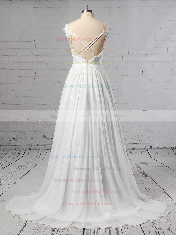 Chiffon Tulle A-line Scoop Neck Sweep Train Lace Wedding Dresses #DOB00023440