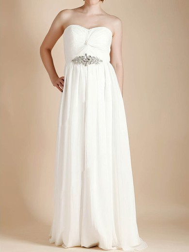 Sweetheart Empire Floor-length Chiffon Criss Cross Wedding Dresses #DOB00020481