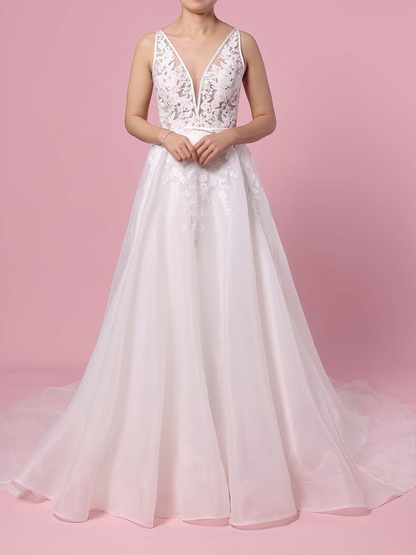 Organza Tulle A-line V-neck Sweep Train Appliques Lace Wedding Dresses #DOB00023442