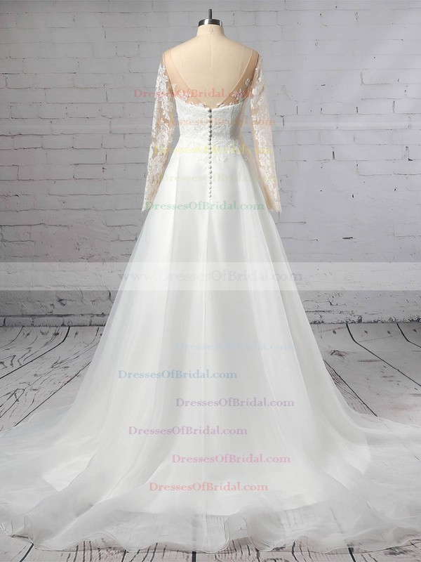 Organza Tulle A-line Scoop Neck Sweep Train Appliques Lace Wedding Dresses #DOB00023444
