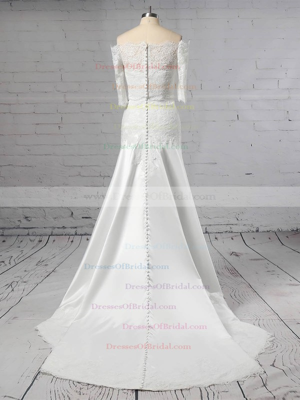 Lace Satin Sheath/Column Off-the-shoulder Sweep Train Appliques Lace Wedding Dresses #DOB00023445