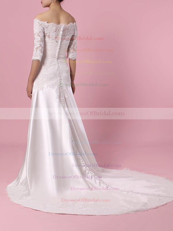 Lace Satin Sheath/Column Off-the-shoulder Sweep Train Appliques Lace Wedding Dresses #DOB00023445
