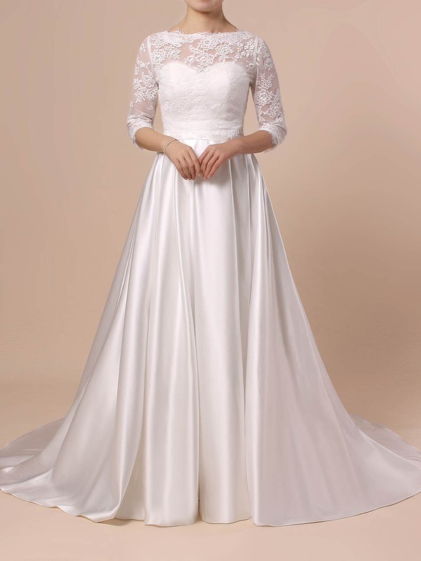 Lace Satin Ball Gown Scalloped Neck Sweep Train Sashes / Ribbons Wedding Dresses #DOB00023446
