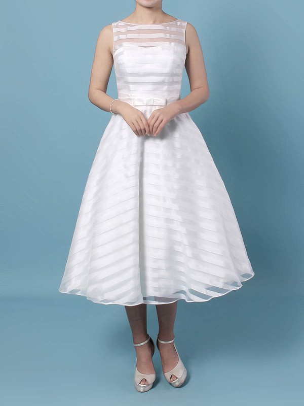 Organza Ball Gown Scoop Neck Tea-length Sashes / Ribbons Wedding Dresses #DOB00023449