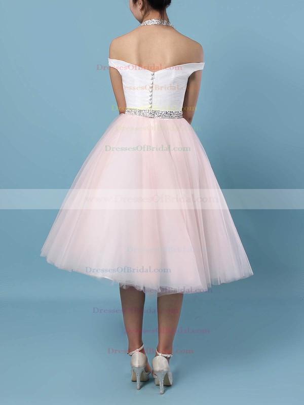 Tulle Ball Gown Halter Tea-length Beading Wedding Dresses #DOB00023450