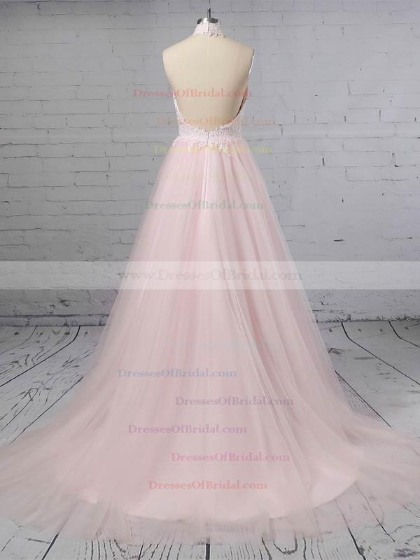 Tulle A-line Halter Sweep Train Appliques Lace Wedding Dresses #DOB00023452