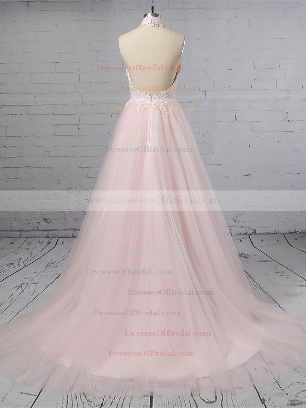 Tulle A-line Halter Sweep Train Appliques Lace Wedding Dresses #DOB00023452