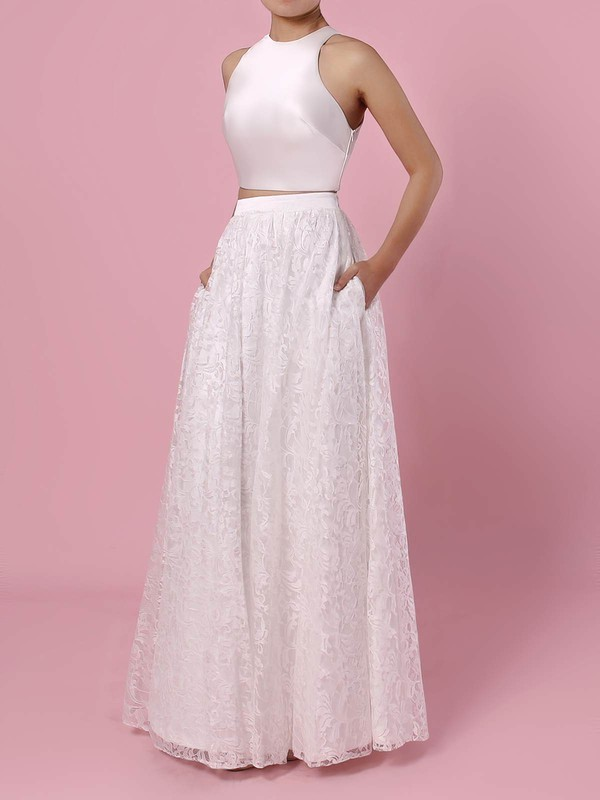 Lace A-line Scoop Neck Floor-length Pockets Wedding Dresses #DOB00023456