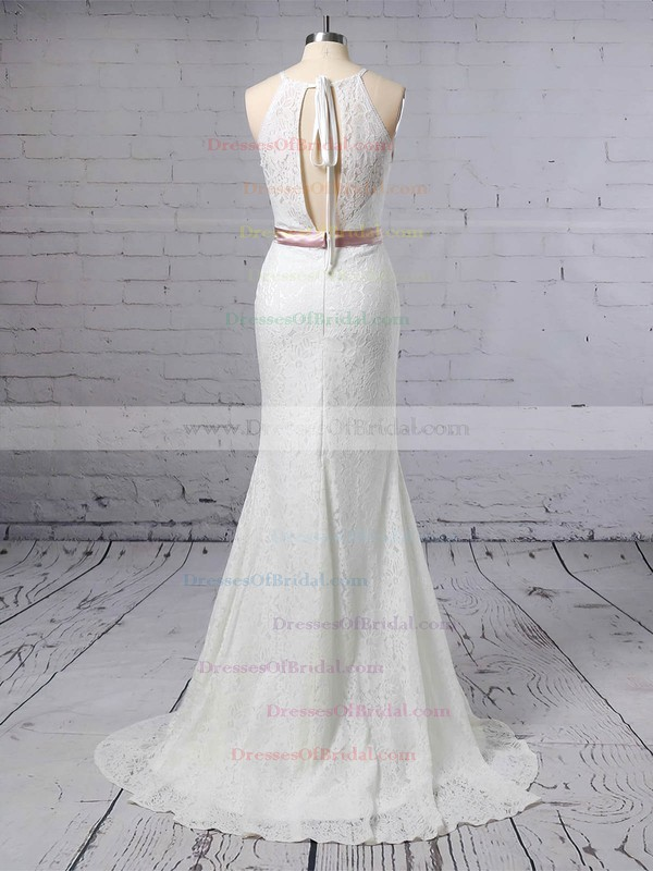 Lace Trumpet/Mermaid Scoop Neck Sweep Train Sashes / Ribbons Wedding Dresses #DOB00023457