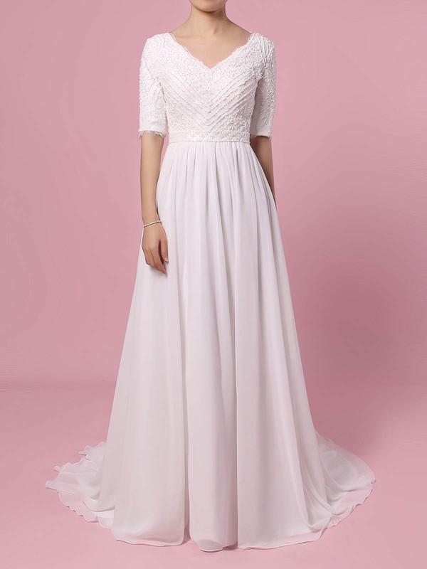 Lace Chiffon A-line V-neck Sweep Train Beading Wedding Dresses #DOB00023463