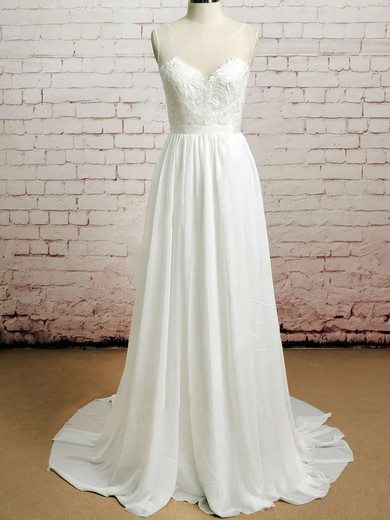Bateau A-line Court Train Chiffon Lace Wedding Dresses #DOB00020482