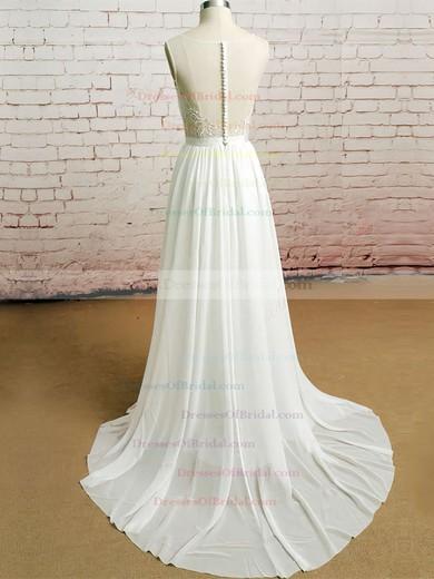 Bateau A-line Court Train Chiffon Lace Wedding Dresses #DOB00020482