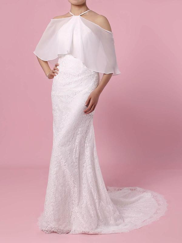 Lace Chiffon Trumpet/Mermaid Off-the-shoulder Sweep Train Wedding Dresses #DOB00023466