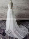 V-neck A-line Court Train Tulle Satin Lace Wedding Dresses #DOB00020483