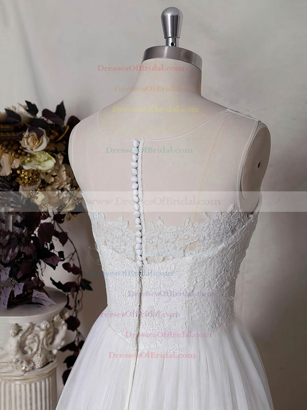 Straps A-line Sweep Train Tulle Satin Lace Wedding Dresses #DOB00020484