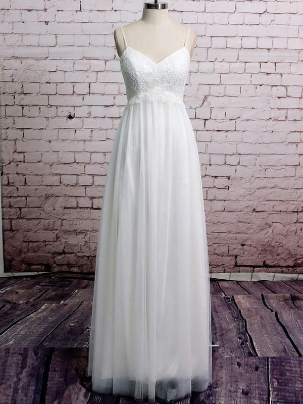 Spaghetti Straps Empire Floor-length Tulle Satin Lace Wedding Dresses #DOB00020485