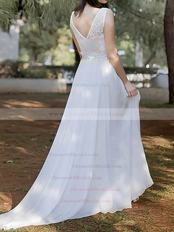 Scoop A-line Court Train Chiffon Lace Wedding Dresses #DOB00020486